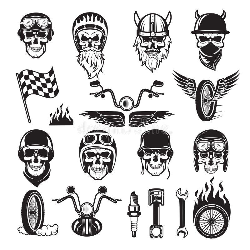 Símbolos do motociclista As bandeiras da bicicleta do crânio rodam silhuetas do vetor da motocicleta do motor dos ossos do fogo ilustração do vetor