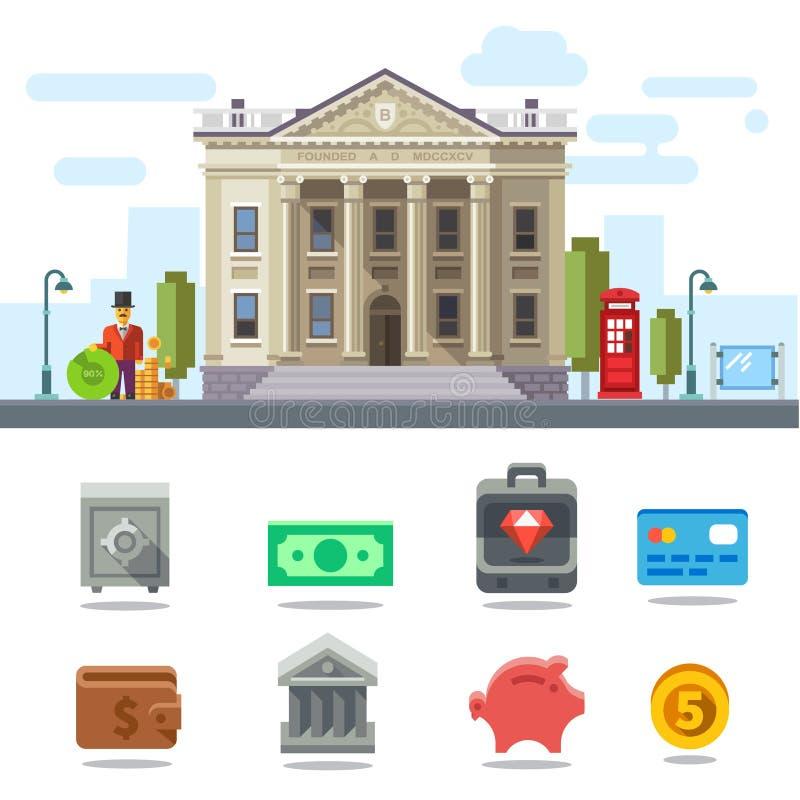 Símbolos do negócio e da finança ilustração royalty free