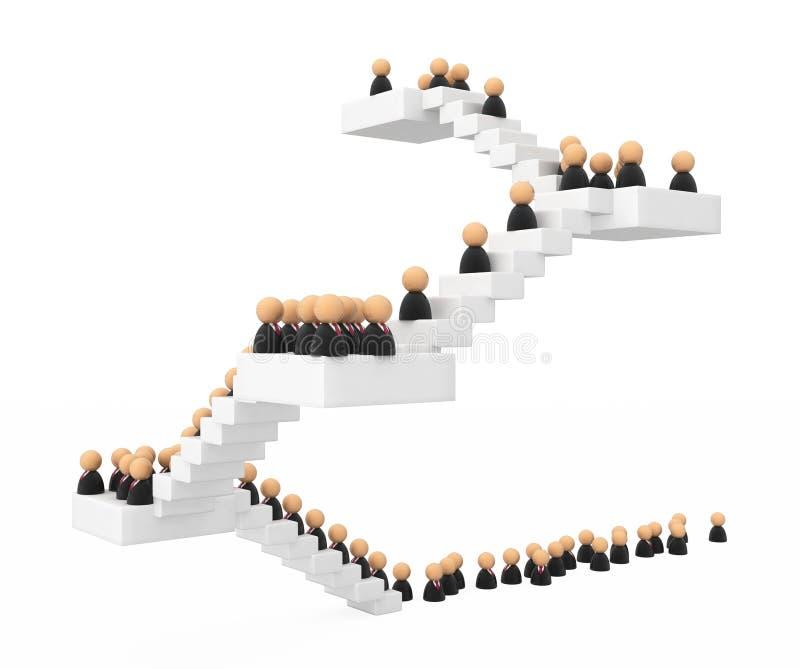 Símbolos do negócio, escada da multidão ilustração stock