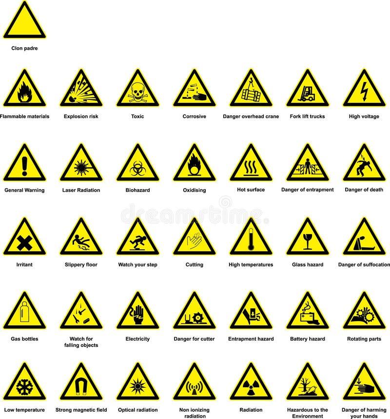 Símbolos do perigo ilustração do vetor