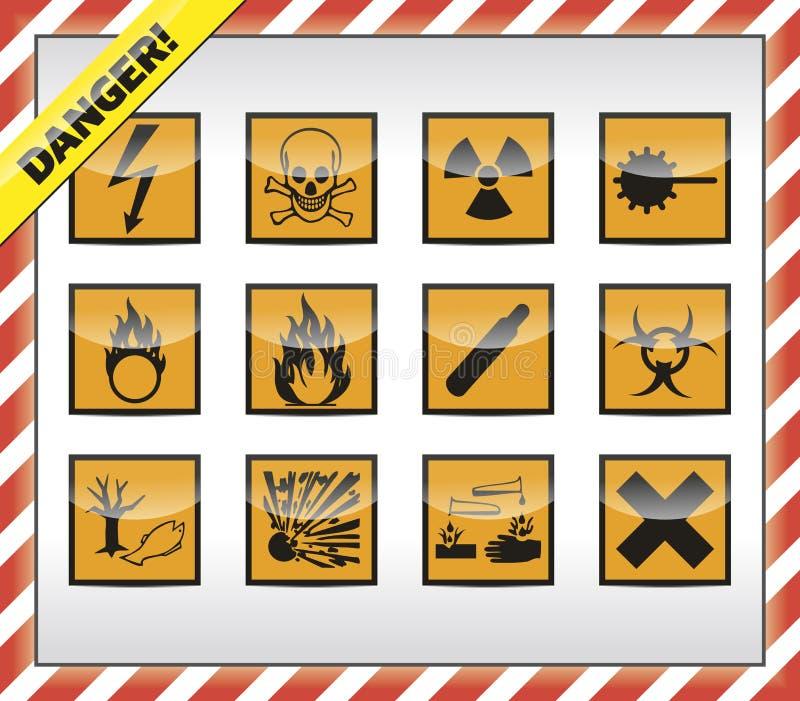Símbolos do perigo ilustração stock