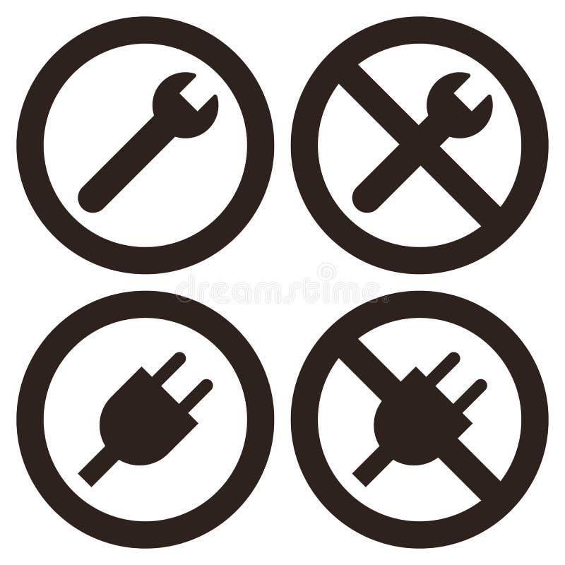 Símbolos do reparo e da tomada ilustração stock