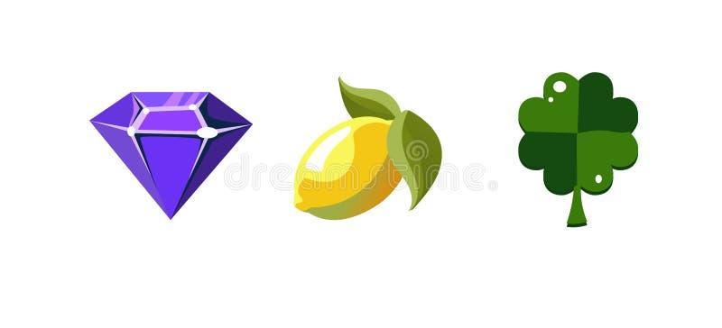 Símbolos do slot machine, diamante, ftuit do limão, folha do trevo, elementos da interface de utilizador do jogo para o computado ilustração do vetor