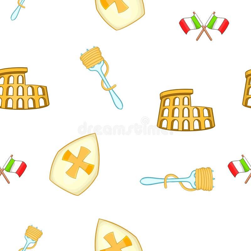 Símbolos do teste padrão de Itália, estilo dos desenhos animados ilustração stock