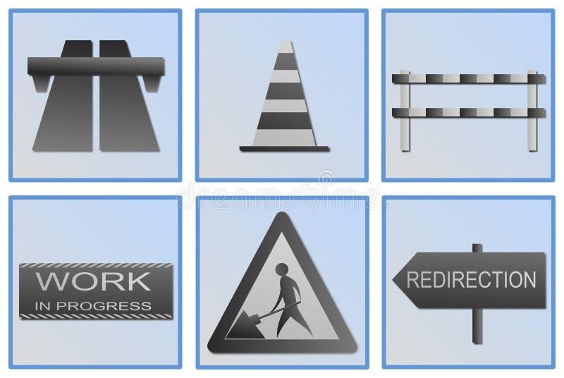 Símbolos do trabalho de estrada ilustração do vetor