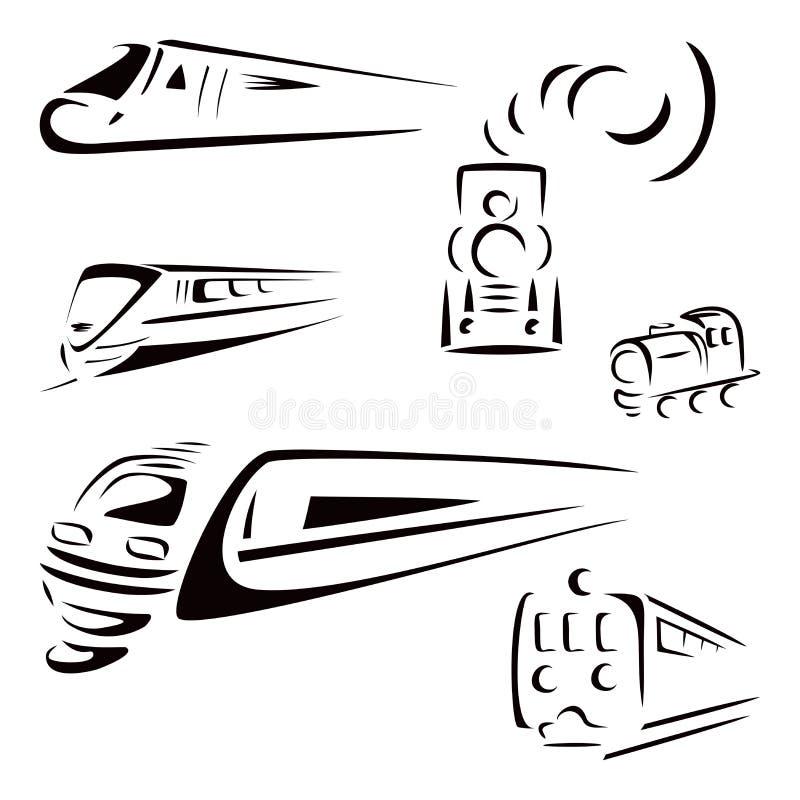 Símbolos do trem ilustração royalty free