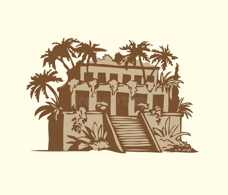 Símbolos do vetor das sete maravilhas do MUNDO antigo ilustração royalty free