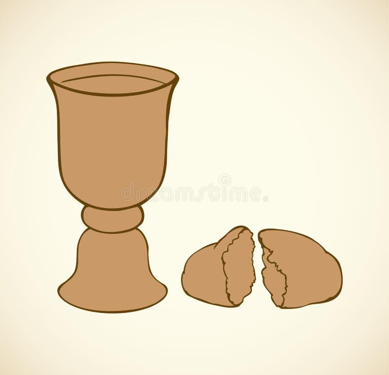 Símbolos do vetor do comunhão Pão e vinho quebrados na bacia ilustração do vetor