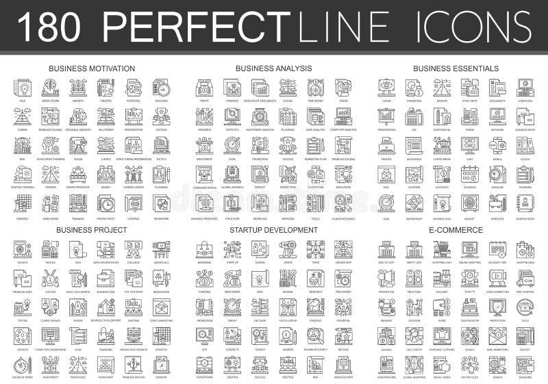 180 símbolos dos ícones do conceito do esboço mini da motivação do negócio, análise de negócio, fundamentos do negócio, projeto d ilustração royalty free