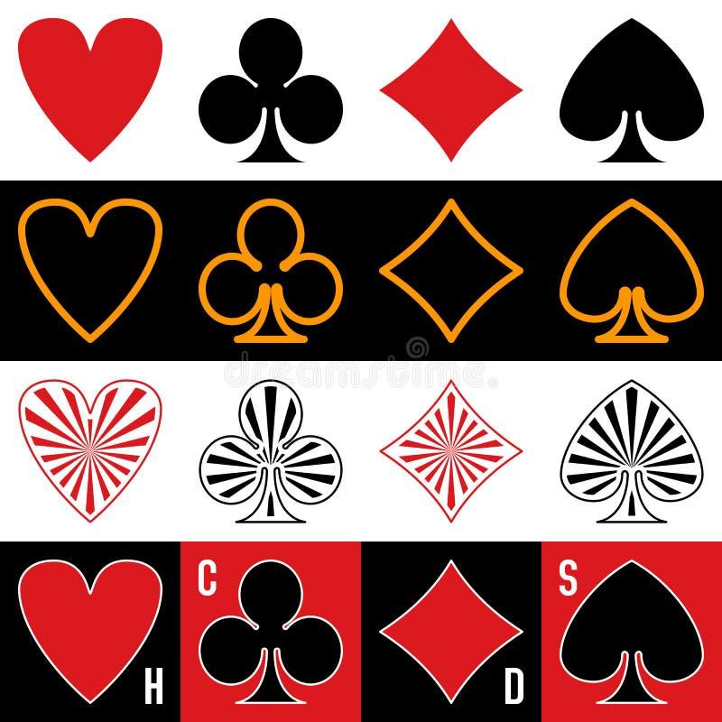 Símbolos dos cartões de jogo ilustração royalty free