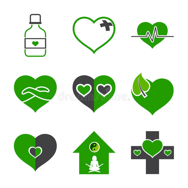 Símbolos dos cuidados médicos e da ecologia ilustração stock
