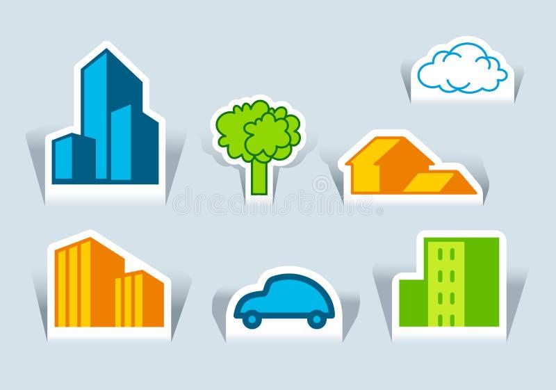 Símbolos dos edifícios, da árvore e do carro ilustração stock