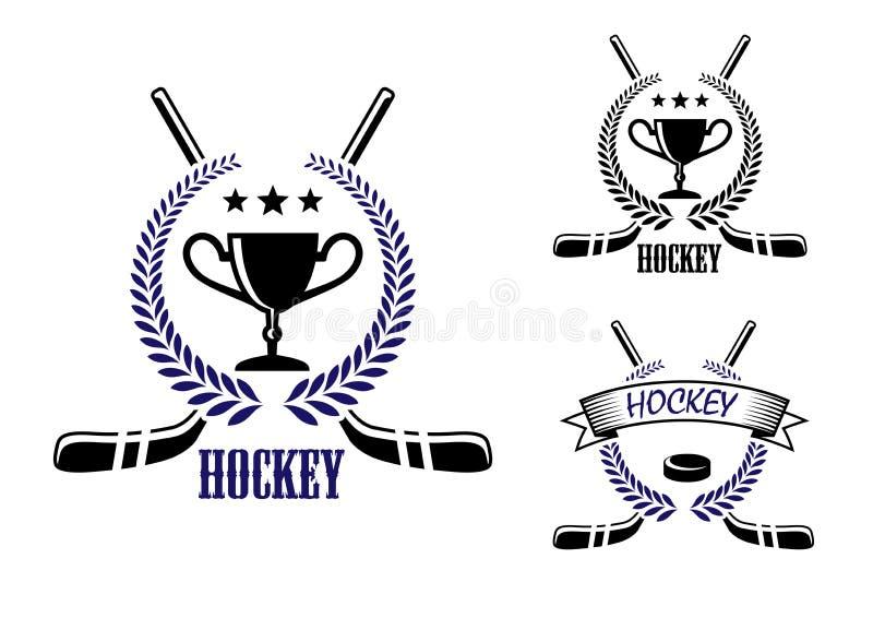 Símbolos dos esportes do hóquei em gelo e de inverno ilustração stock
