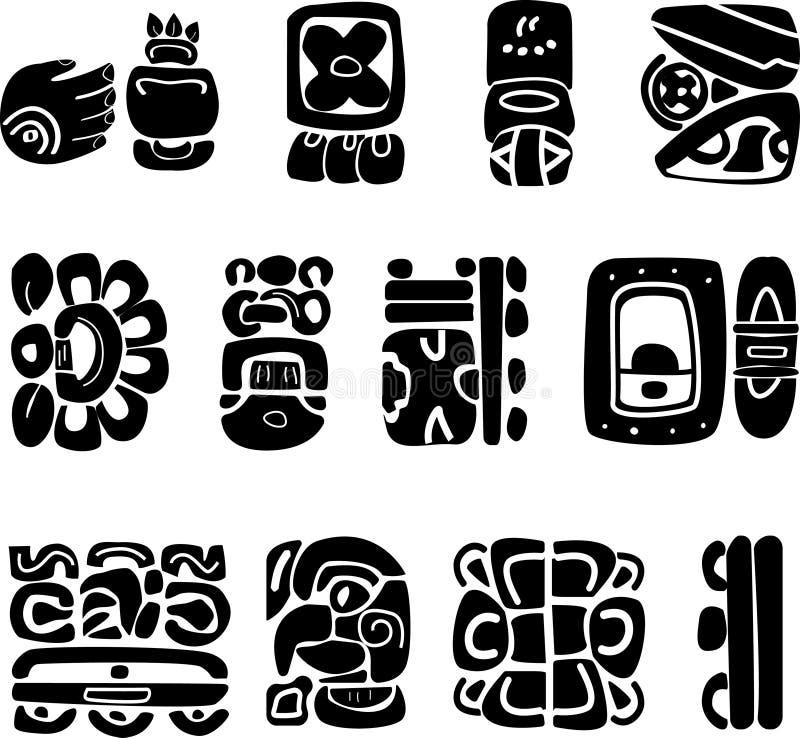 Símbolos dos logotipos étnicos de América do sul, desenhos indianos do maya, México, vetor ilustração royalty free