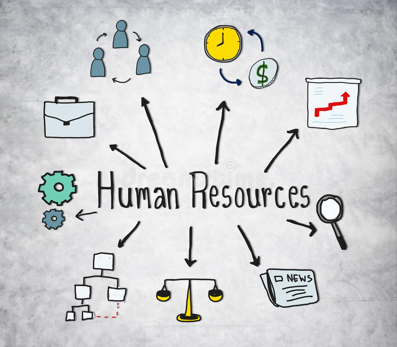 Símbolos dos recursos humanos no fundo concreto ilustração royalty free