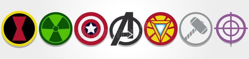 Símbolos dos vingadores ilustração stock