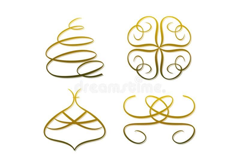 Símbolos dourados abstratos (do Natal) ilustração royalty free