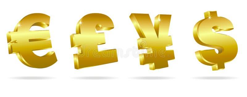 Símbolos dourados para o dinheiro ilustração do vetor