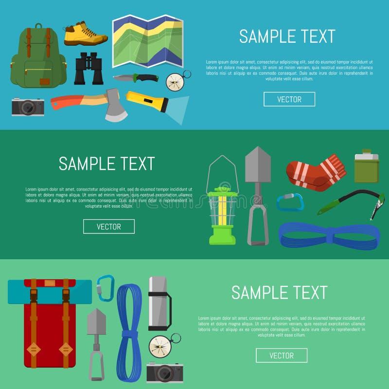 Símbolos e ícones de acampamento das bandeiras do equipamento ilustração royalty free