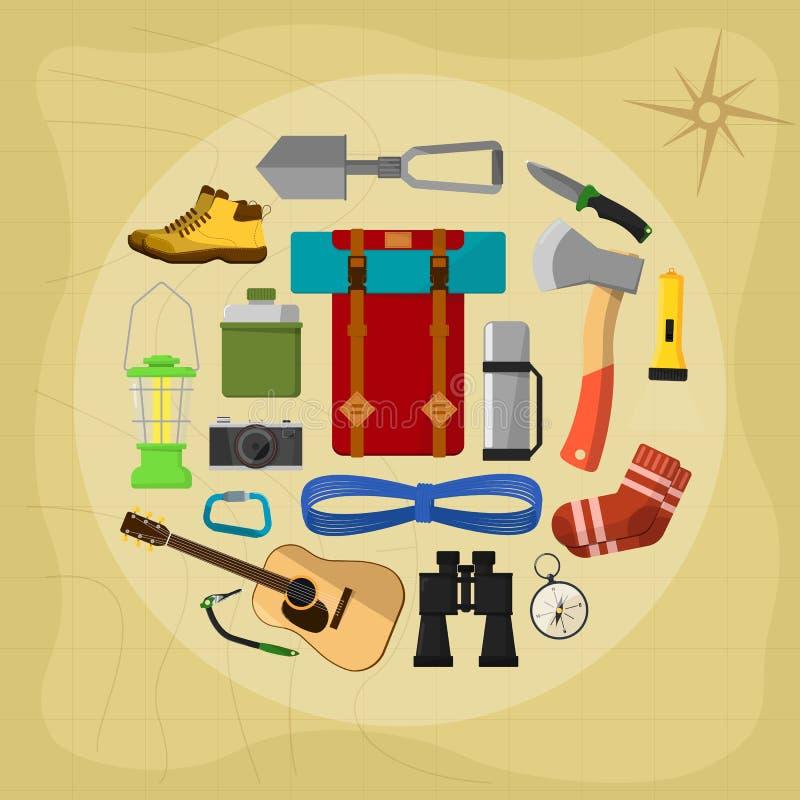 Símbolos e ícones de acampamento do equipamento ilustração stock