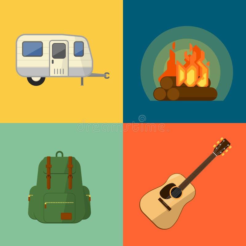 Símbolos e ícones de acampamento do equipamento ilustração do vetor