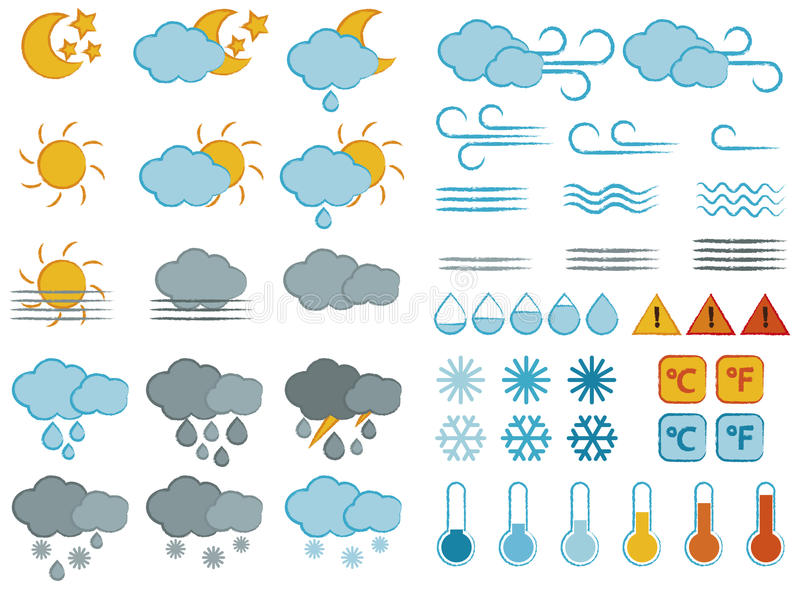 Símbolos e ícones de tempo ajustados ilustração stock
