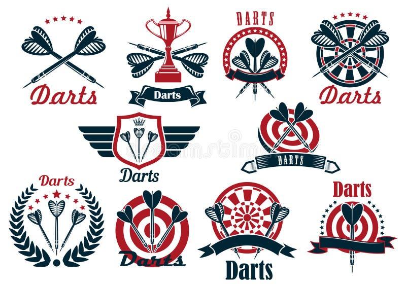 Símbolos e ícones do competiam do jogo dos dardos ilustração do vetor