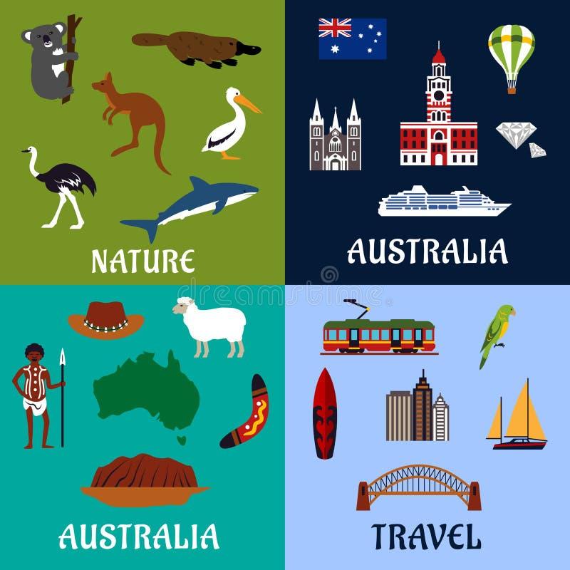 Símbolos e ícones lisos do curso de Austrália ilustração do vetor