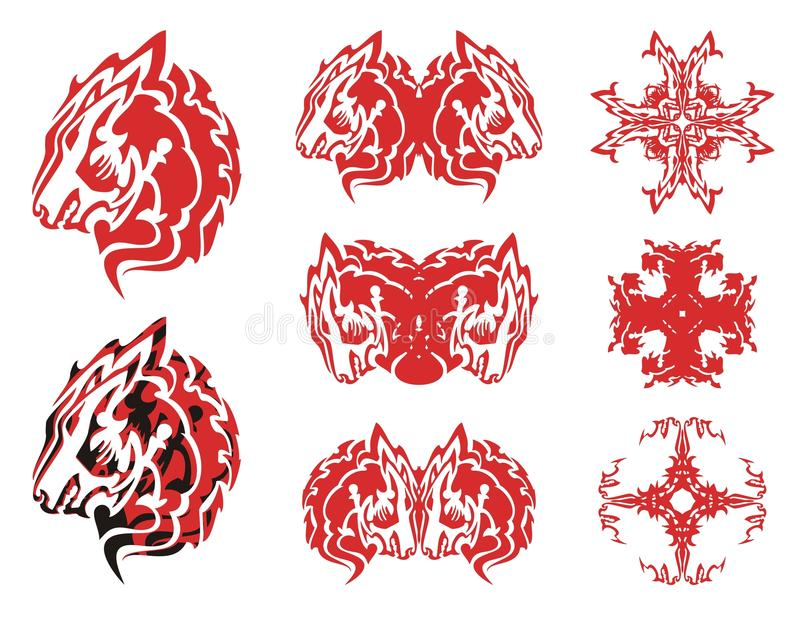 Símbolos e cruzes da cabeça do lobo vermelho dele ilustração royalty free