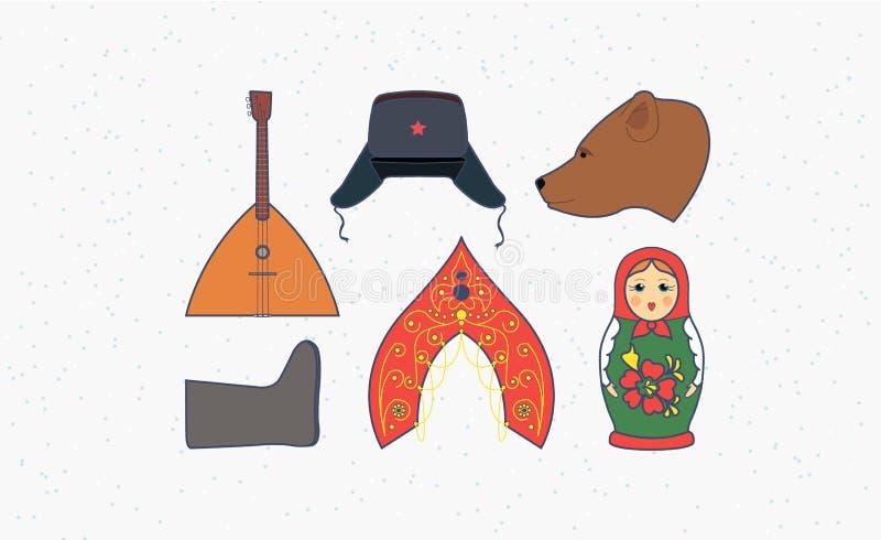 Símbolos e elementos de Rússia foto de stock
