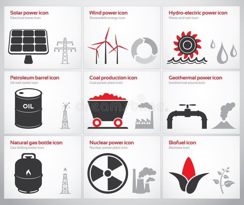 Símbolos e iconos de la energía ilustración del vector