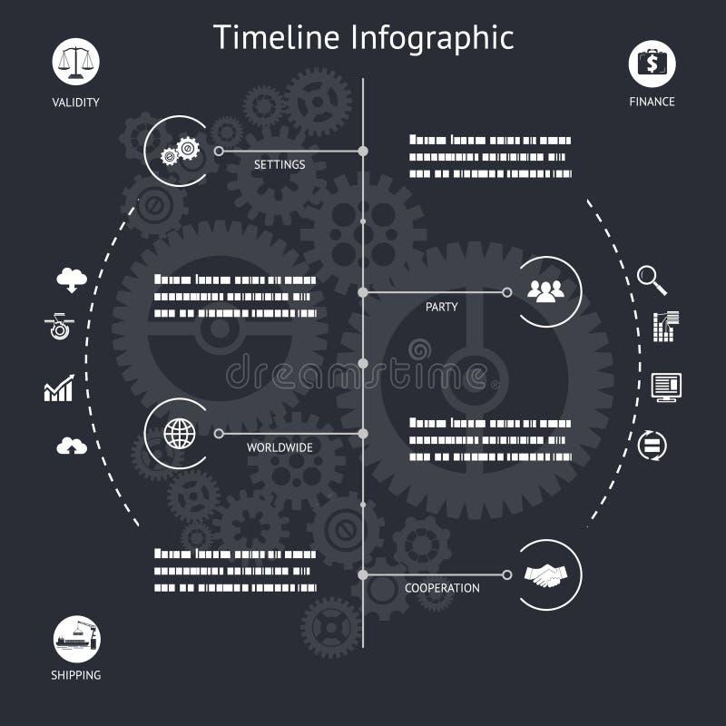 Símbolos e iconos de los elementos de Infographics de la cronología ilustración del vector