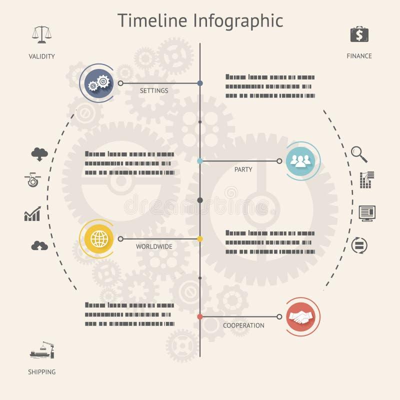 Símbolos e iconos de los elementos de Infographics de la cronología libre illustration