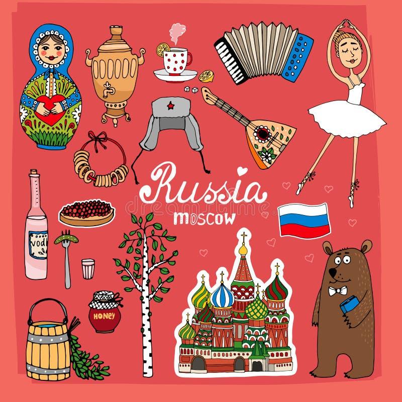 Símbolos e iconos de Rusia stock de ilustración