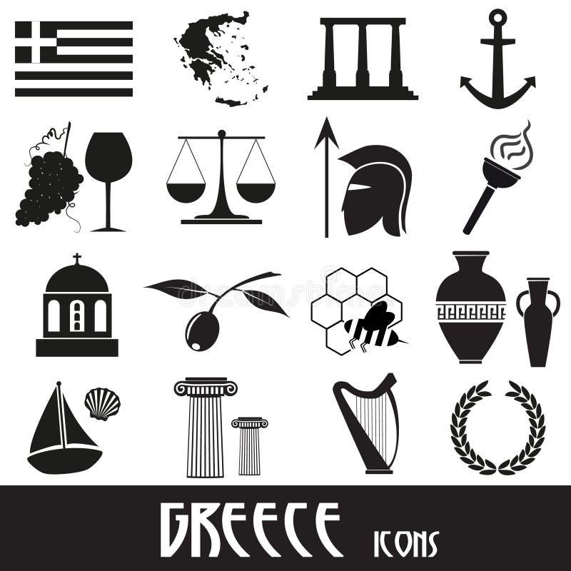 Símbolos e iconos del tema del país de Grecia fijados ilustración del vector
