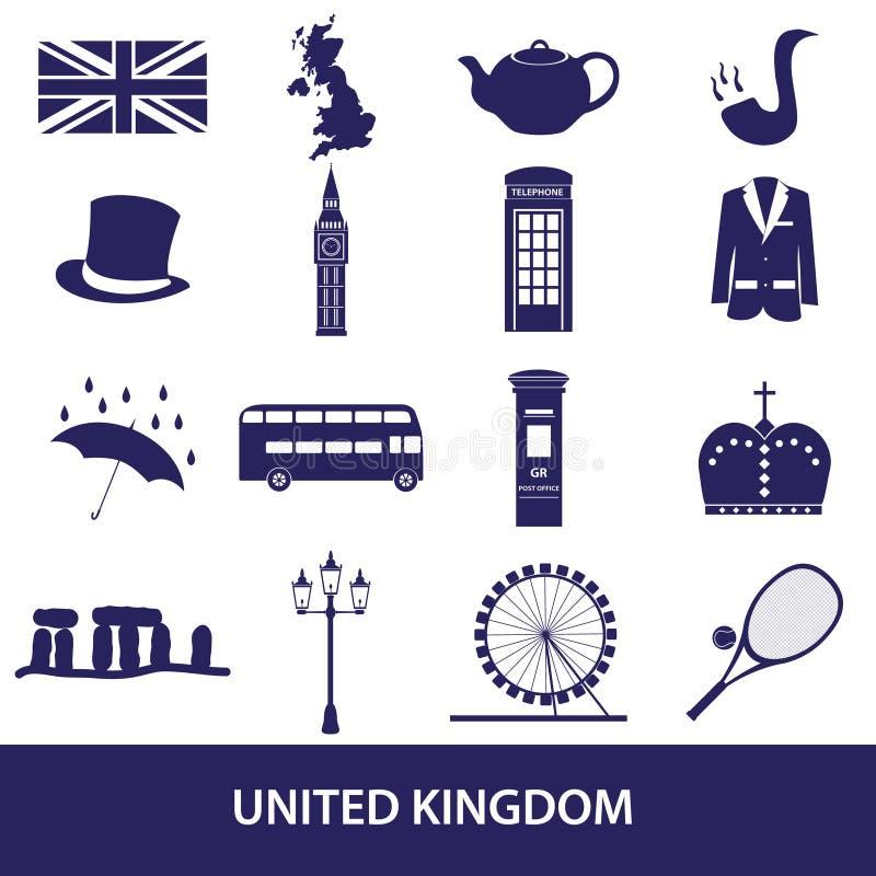 Símbolos e iconos del tema del país de Reino Unido ilustración del vector