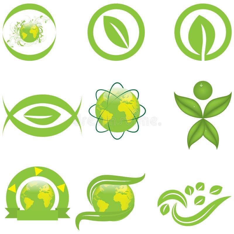 Símbolos e logotipo da ecologia ilustração do vetor