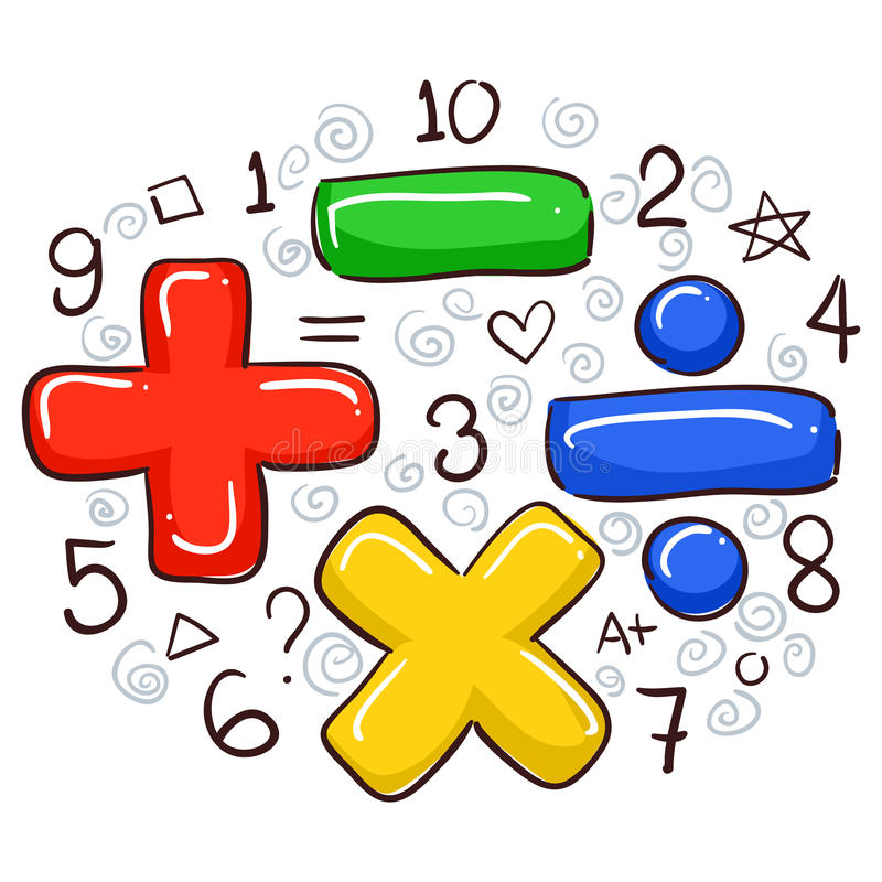 Símbolos e números da matemática ilustração royalty free