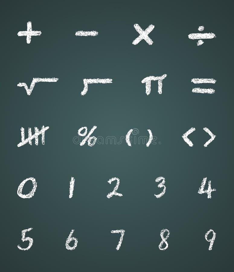 Símbolos e números da matemática do vetor do giz ilustração royalty free