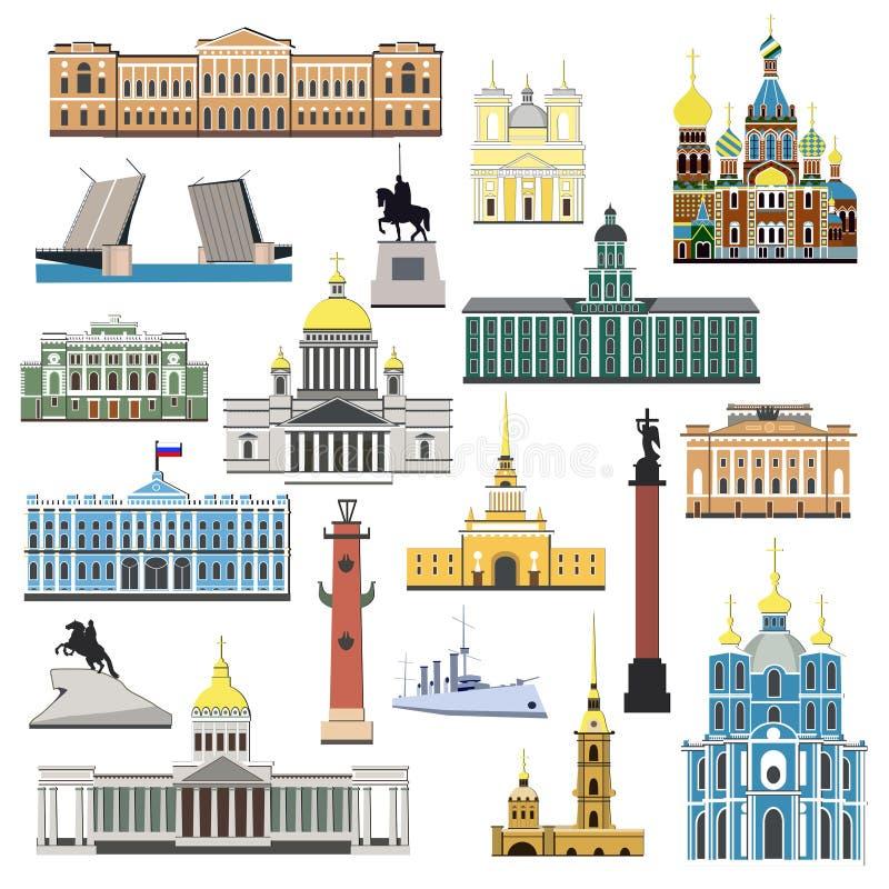 Símbolos e objetos dos desenhos animados ajustados de St Petersburg ilustração stock