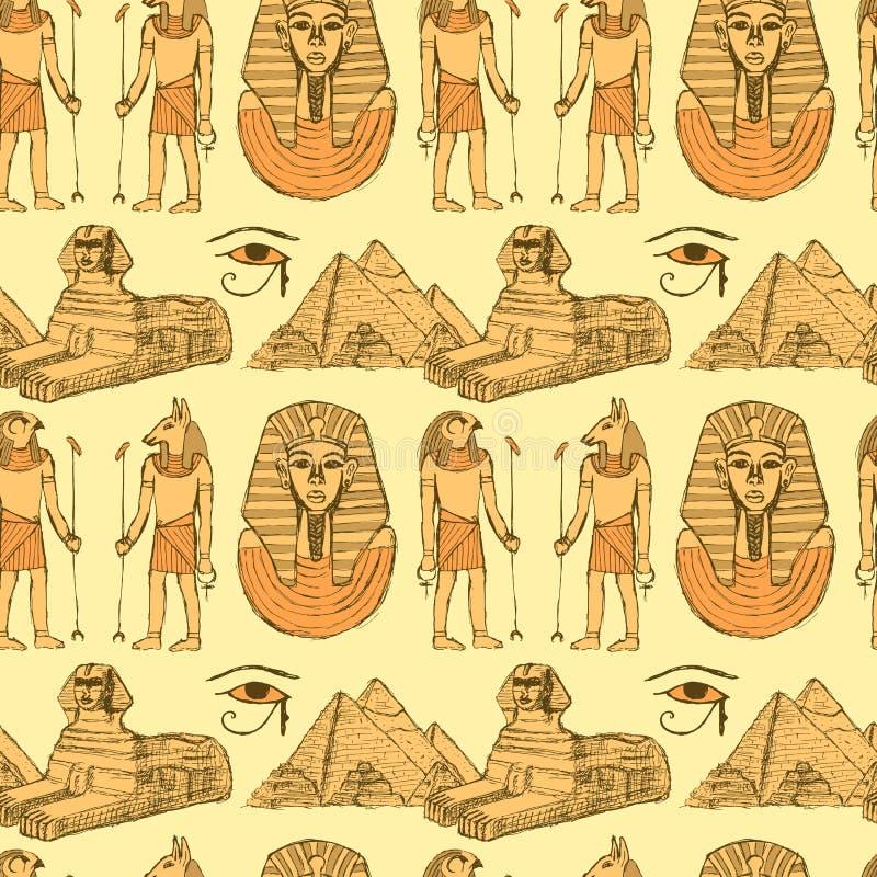 Símbolos egípcios do esboço no estilo do vintage ilustração royalty free