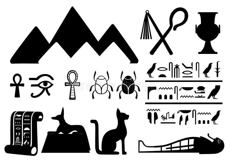 Símbolos egipcios antiguos de las siluetas del negro y ejemplo plano de los iconos de Egipto de la decoración aislado en el web b ilustración del vector