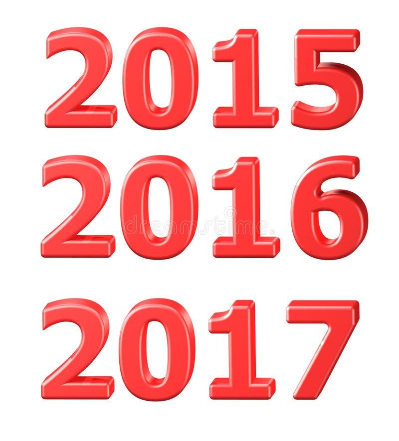 2015, 2016, 2017 símbolos em 3D fotos de stock