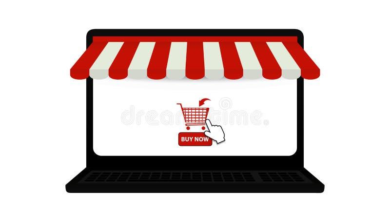 Símbolos en línea de la tienda del ordenador portátil - indicador del toldo, del carro de la compra y de ratón - ejemplo del vect ilustración del vector