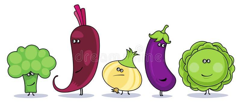 Símbolos engraçados dos vegetais dos desenhos animados. ilustração do vetor