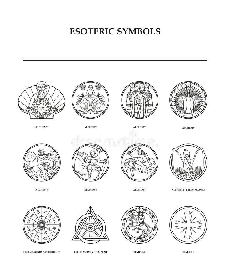 Símbolos esotéricos - a alquimia imagem de stock