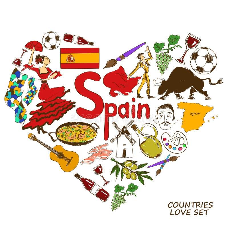 Símbolos espanhóis no conceito da forma do coração ilustração royalty free