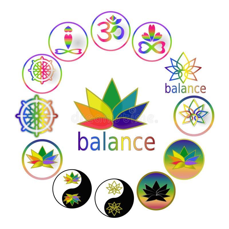 Símbolos espirituais da ioga dos ícones da harmonia e do equilíbrio, ícones ajustados, símbolos de Zen Buddhism do taoismo, grupo ilustração royalty free
