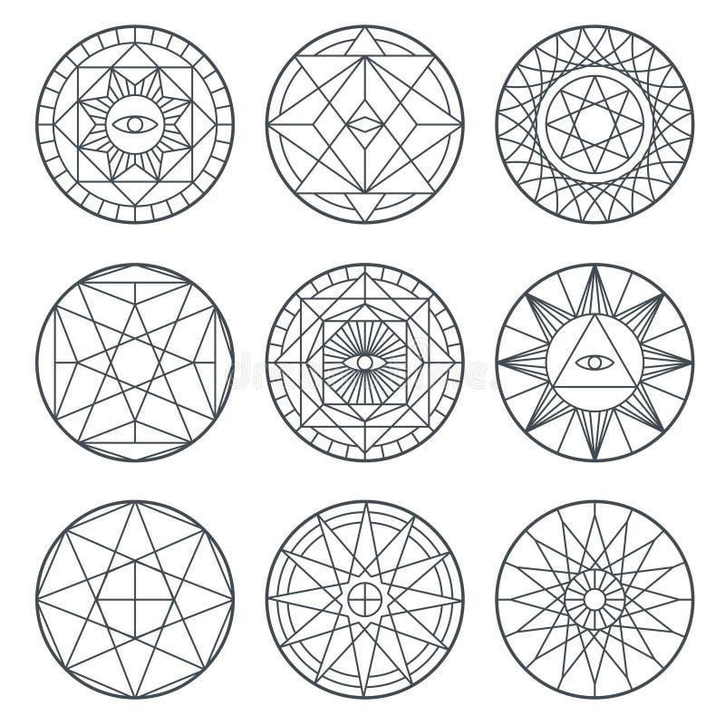 Símbolos espirituales del vector de la alquimia Logotipos sagrados del vector de la geometría medieval stock de ilustración