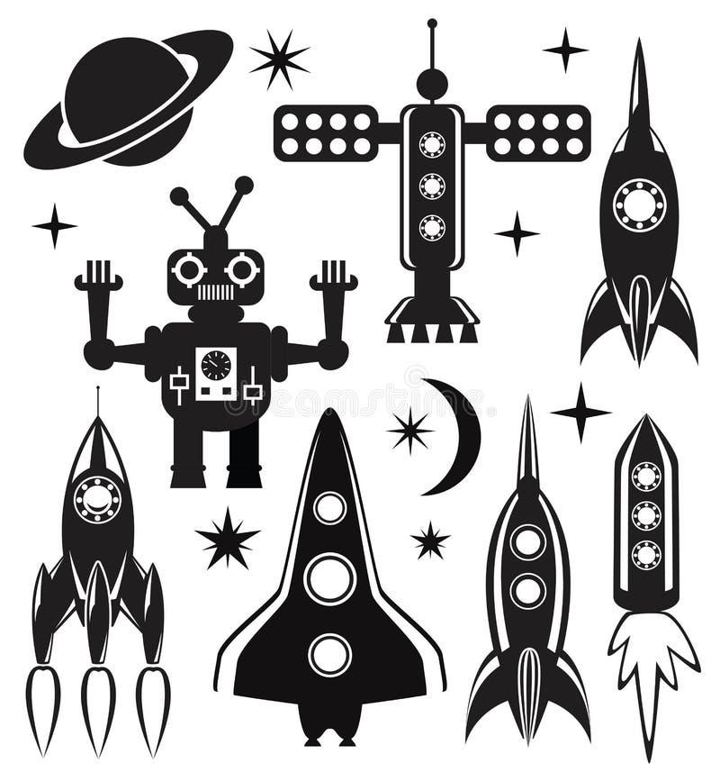 símbolos estilizados do espaço do vetor ilustração royalty free